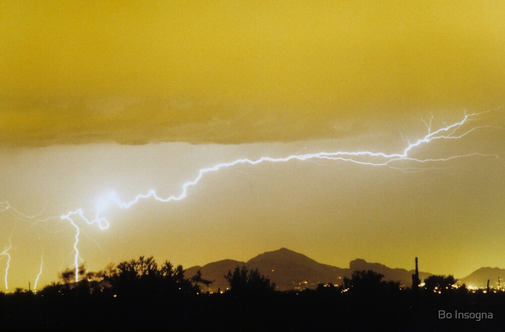 Lightning Over Camelback Mountain by Bo Insogna