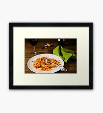 Half-eaten tagliatelle pasta with bolognese ragu and red wine Framed Print