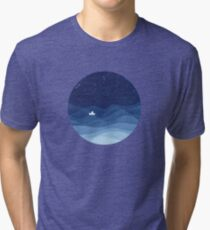blue ocean waves, sailboat ocean stars Tri-blend T-Shirt