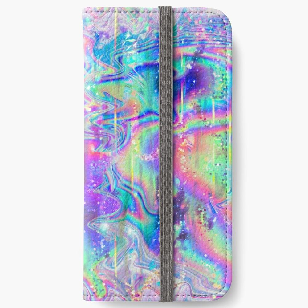 Psychedelische holographische Textur iPhone Flip-Case