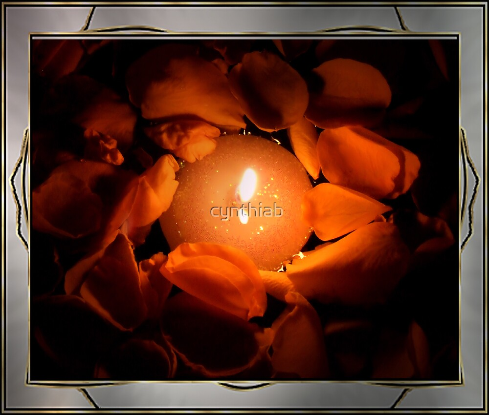 rosepetals by candle light by cynthiab