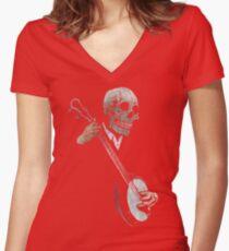 Skullboys' Banjo Blues Women's Fitted V-Neck T-Shirt
