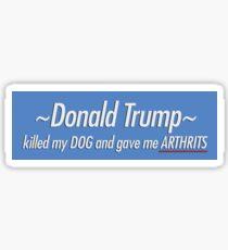 donald trump killed my dog and gave me arthrits Sticker