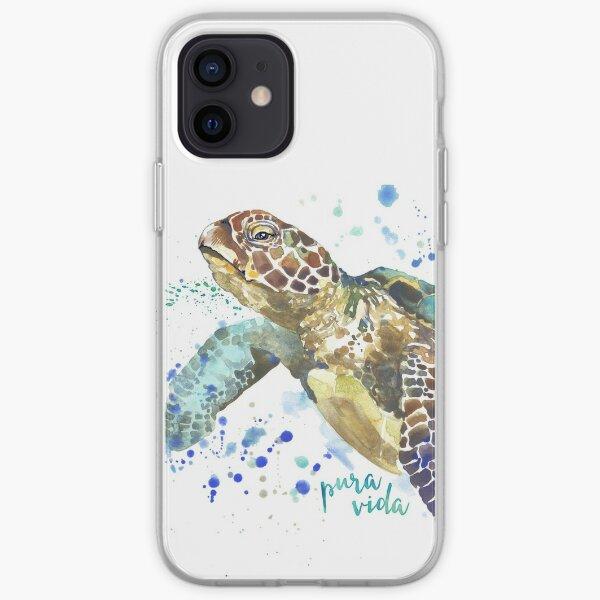 Sea Turtle Pura Vida Watercolor iPhone Soft Case