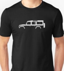 Car silhouette for Land Rover Defender 110, 4-door station wagon enthusiast  (version with hood / bonnet bulge) Unisex T-Shirt