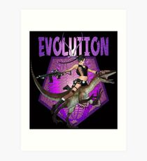 Dinosaur Girl Reptile Evolution Art Print