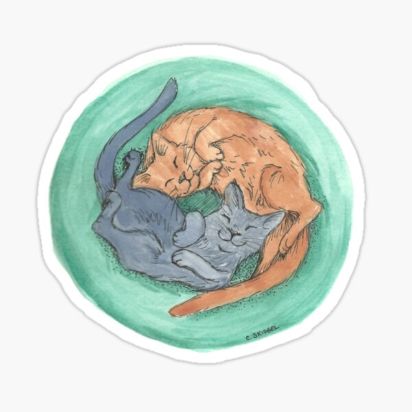 Lazy Cats - Watercolor Sticker