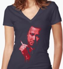 Bill Hicks (red) Women's Fitted V-Neck T-Shirt