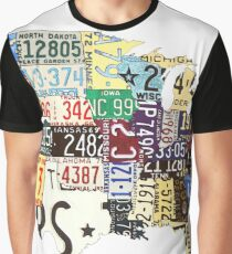 USA vintage license plates map Graphic T-Shirt