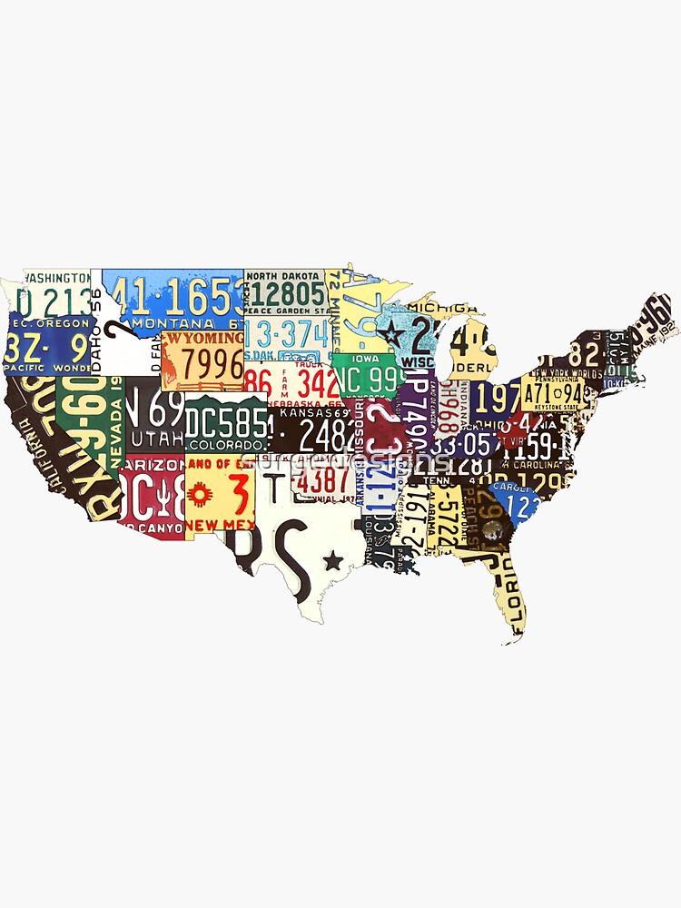 Mapa de matrículas vintage de Estados Unidos de surgedesigns