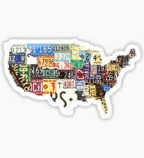 USA vintage license plates map Sticker