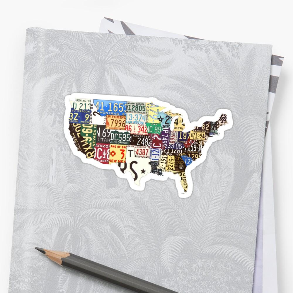 Mapa de matrículas vintage de Estados Unidos Pegatinas