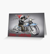 CHRISTMAS HARLEY STYLE MOTORCYCLE Greeting Card