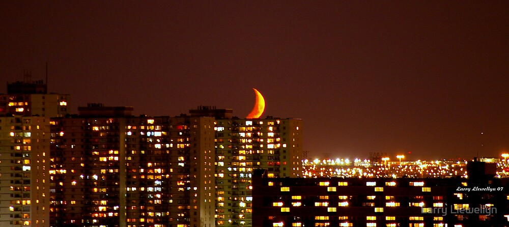 Moon over Etobicoke, Ontario, Canada by Larry Llewellyn