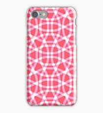 Red and white pattern of lines iPhone Case/Skin