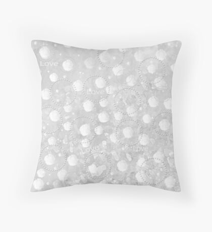 White Rose and Circles Throw Pillow