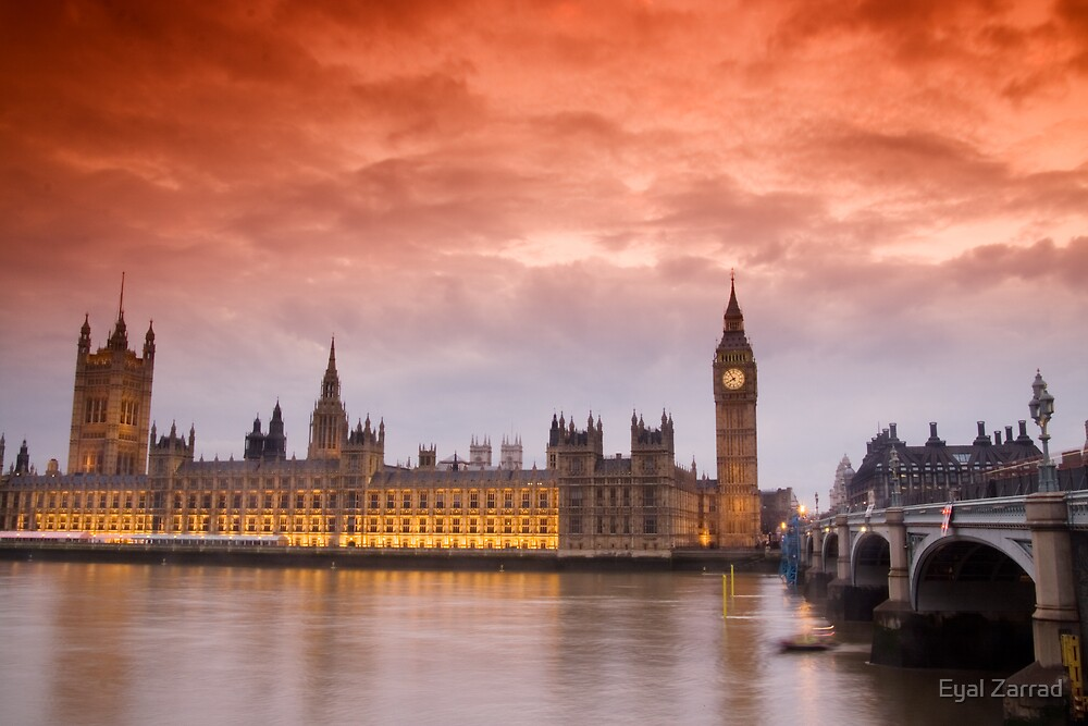 London Orange Sunset by Eyal Zarrad