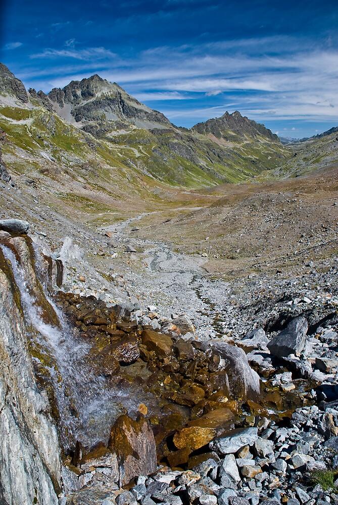 Alpine Waterfall by Jan Cervinka