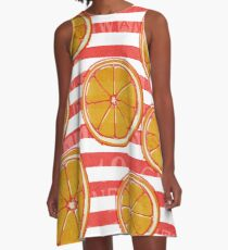 Red sailor stripes & Oranges A-Line Dress