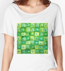 Water Droplets on Green Squares Women's Relaxed Fit T-Shirt