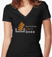 Overflowing like a boss Women's Fitted V-Neck T-Shirt