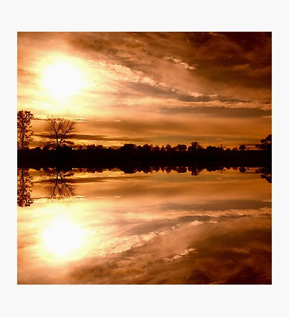 Sunset Over Town Reflected Photographic Print