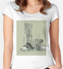 A Pair of Tall Laced Boots Women's Fitted Scoop T-Shirt