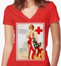 RED CROSS: Vintage Wartime Nurses Print Women's Fitted V-Neck T-Shirt