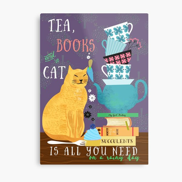 Tea, books and a cat, qoute, cups Metal Print