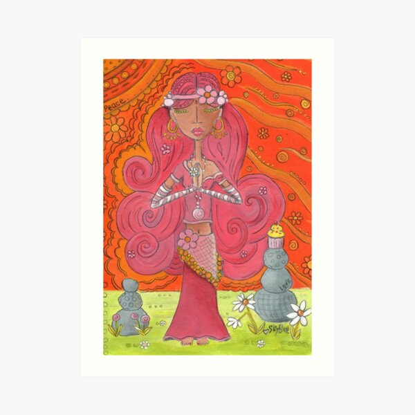 Pink Yoga Gypsy – Whimsical Folk Art Girl in Namaste Pose  Art Print