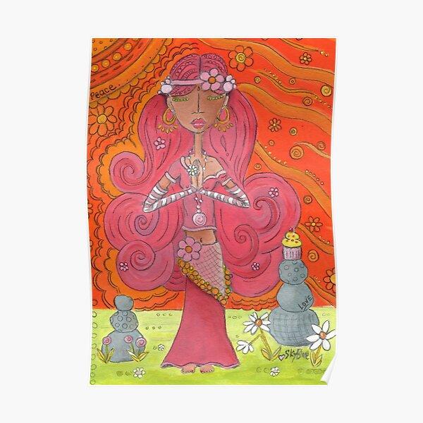 Pink Yoga Gypsy – Whimsical Folk Art Girl in Namaste Pose  Poster