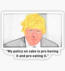 Boris Johnson - Policy On Cake Sticker