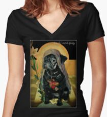 Camiseta entallada de cuello en V santo negro