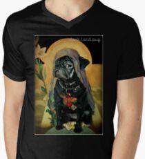 Camiseta para hombre de cuello en v santo negro
