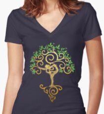 Yoga Tree Women's Fitted V-Neck T-Shirt