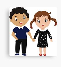 cartoon couple - curly boy and girl with two pigtails Canvas Print