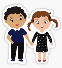 cartoon couple - curly boy and girl with two pigtails Sticker