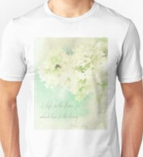 White and Aqua Floral with Life Quote Unisex T-Shirt