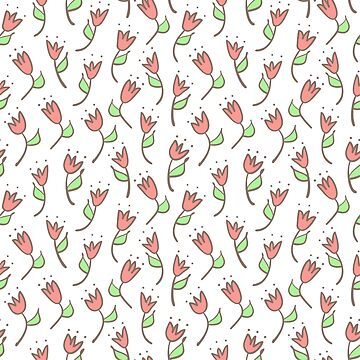 Simple tulip retro pattern. Hand drawn flower background. by illucesco