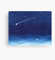 Falling star, shooting star, sailboat ocean waves blue sea Canvas Print