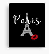 Eiffel Tower Paris France Kiss T-Shirt Canvas Print