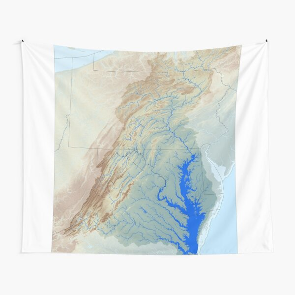 Chesapeake Bay Watershed Map - Raw Landscape Tapestry