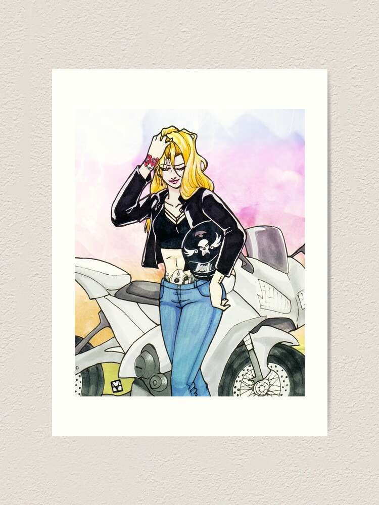 Alternate view of Biker Blonde Art Print