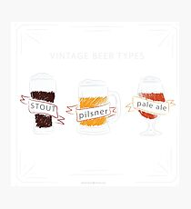 Vintage beer types Photographic Print