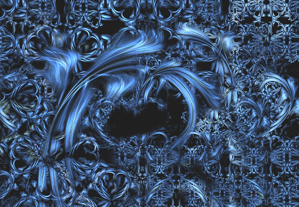 Blue Lace Abstract Art Card 3 by RandomWay