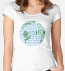 Schütze die Erde - Blaugrüne Worte für die Erde Tailliertes Rundhals-Shirt