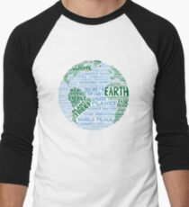 Protect Earth - Blue Green Words for Earth Men's Baseball ¾ T-Shirt