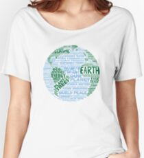 Protect Earth - Blue Green Words for Earth Women's Relaxed Fit T-Shirt
