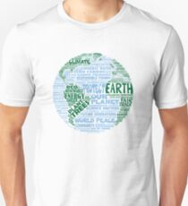Protect Earth - Blue Green Words for Earth Unisex T-Shirt