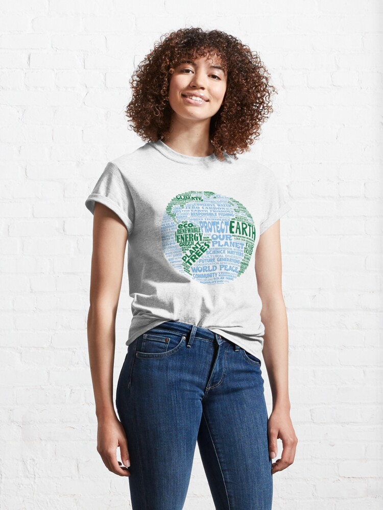 Alternate view of Protect Earth - Blue Green Words for Earth Classic T-Shirt